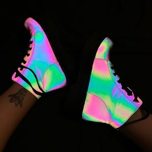 Rainbow reflective ankle combat boots